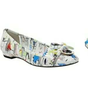 J. Renee graffiti flats white patent leather 9